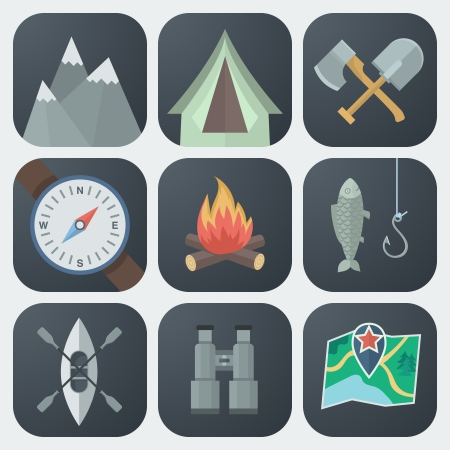 kayak: Set van Camping Flat App Pictogrammen op Lichte Achtergrond