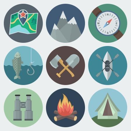 canoa: Conjunto de camping Flat Iconos del círculo de la luz de fondo
