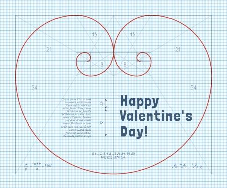 hoja cuadriculada: Coraz�n de dos Espiral Fibonacci en papel cuadriculado. Tarjeta de San Valent�n conceptual para matem�ticos.