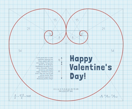 logarithmic: Heart of two Fibonacci Spiral on Graph Paper. Conceptual Valentines Card for Mathematicians.