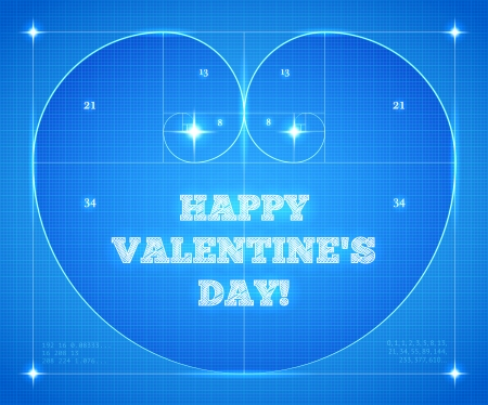 Heart of two Fibonacci Spiral on Blueprint. Conceptual Valentines Card for Mathematicians. Vector