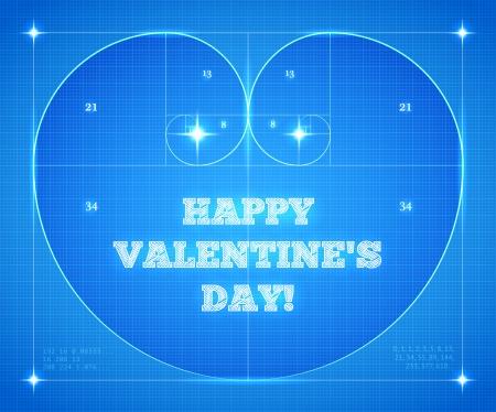 fibonacci: Heart of two Fibonacci Spiral on Blueprint. Conceptual Valentines Card for Mathematicians. Illustration