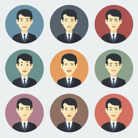 Emotionen der Geschäftsmann?? Bunte Kreis Icons in Trendy Flat Style Set