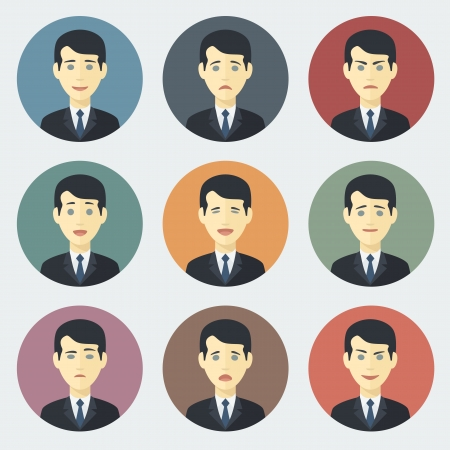 Emotions of Businessman ??? Colorful Circle Icons Set in Trendy Flat Style 向量圖像