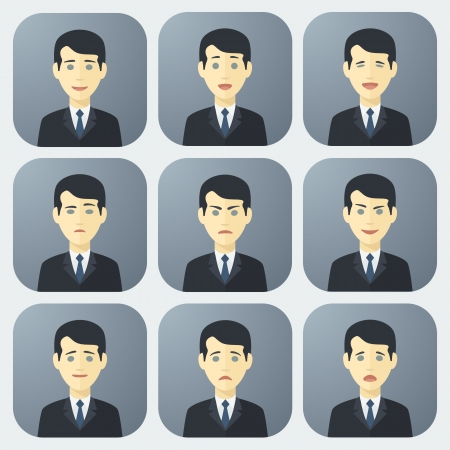 Emotions of Businessman ??? Colorful App Icons Set in Trendy Flat Style Illusztráció