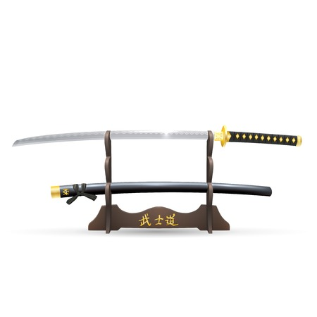 samurai sword: Realistic Samurai Sword and Scabbard on the Stand Isolated on White