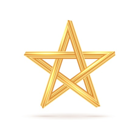 pentagram: Golden Inconceivable Pentagram with Shadow Isolated on White Stock Photo