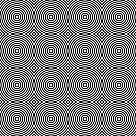 Black and White Psychedelic Circular Textile Patterns ??? Seamless Background