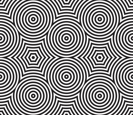 Schwarz-Weiß-Psychedelic-Rund Textile Patterns?? Nahtlose Hintergrund Lizenzfreie Bilder