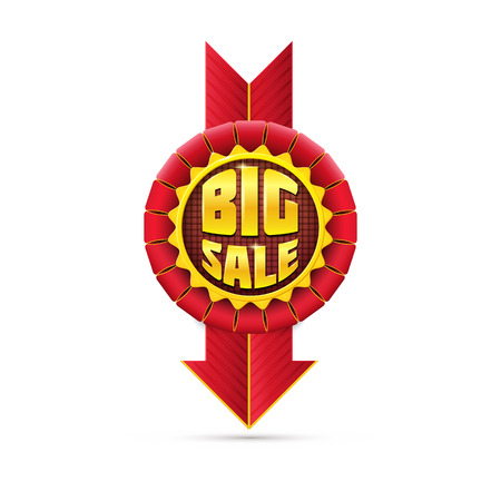 Red Sale Badge with Golden Promo Inscriptions - Isolated on White photo