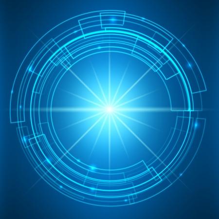 Fantastische Weltraumtunnel mit Fackeln - Abstrakt Technologie-Hintergrund