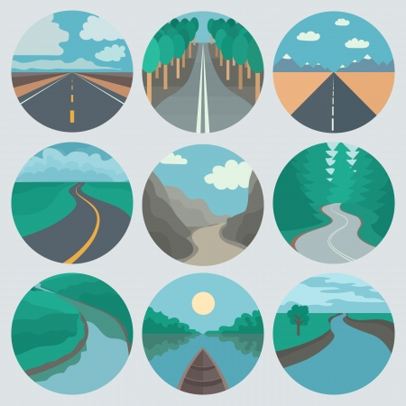river rocks: Circle Landscapes Icons in Tranding Flat Style Stock Photo