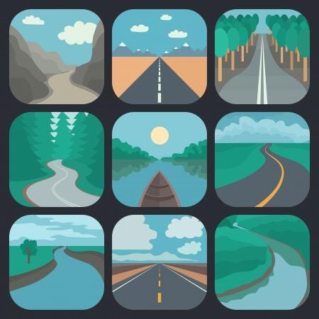 Carré arrondi Paysages icônes dans Tranding Flat Style Banque d'images - 25299025