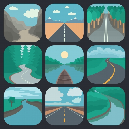 river rocks: Rounded Square Landscapes Icons in Tranding Flat Style Stock Photo