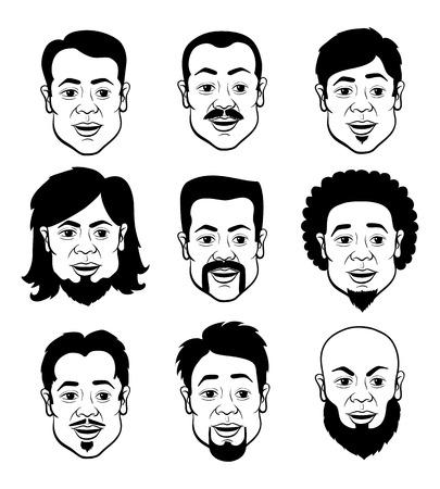 visage homme: Art Cartooning visages de l'homme avec des coiffures différentes - noir et blanc Ensemble de Illustrations