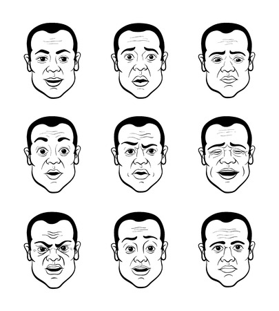 Line Art Cartooning Emotional Faces of the Man - Black and White Illustration Vector
