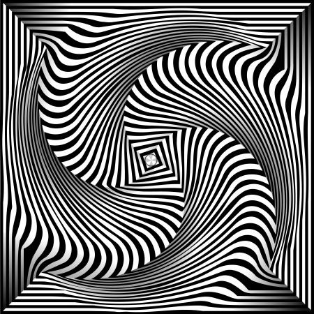 opt: Spirala Optical Illusion - Streszczenie czarno-białe tło Opt sztuki