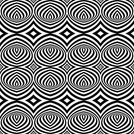 Pattern with Optical Illusion - Black and White Opt Art Seamless Vector