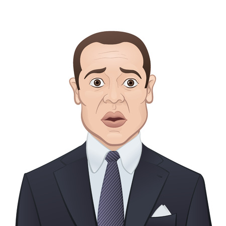 panicked: Scared Businessman in a Suit and Tie Isolated on White - Cartoon Character Illustration