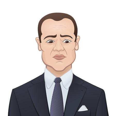empresario triste: El hombre de negocios triste en un traje y corbata aislados en blanco - personaje de dibujos animados