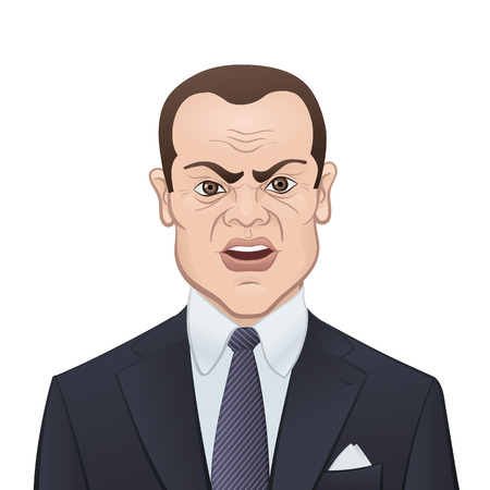 Angry Businessman in a Suit and Tie Isolated on White - Cartoon Character Vector