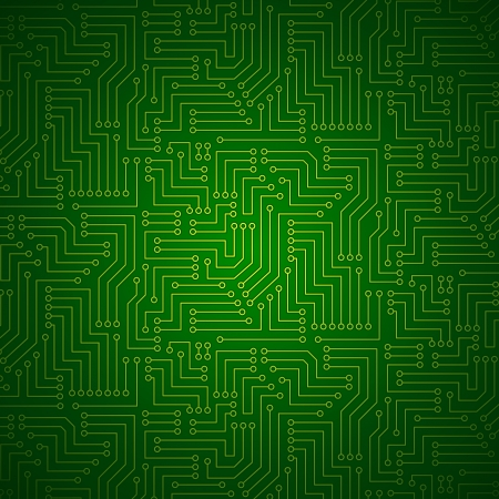 pcb: Shining Green Yellow Printed Circuit Board - Technology Seamless with Pattern in Swatches