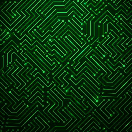 Futuristic Shining Green Technology  Printed Circuit Board Seamless with Pattern in Swatches Vector