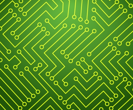Green and Yellow Printed Circuit Board Seamless with Pattern in Swatches with Pattern in Swatches Vector