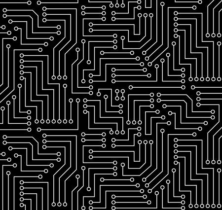 Schwarz-Weiß Printed Circuit Board Nahtlos mit Muster in der Farbfelder- Illustration
