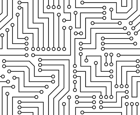 Black and White Printed Circuit Board Seamless  with Pattern in Swatches