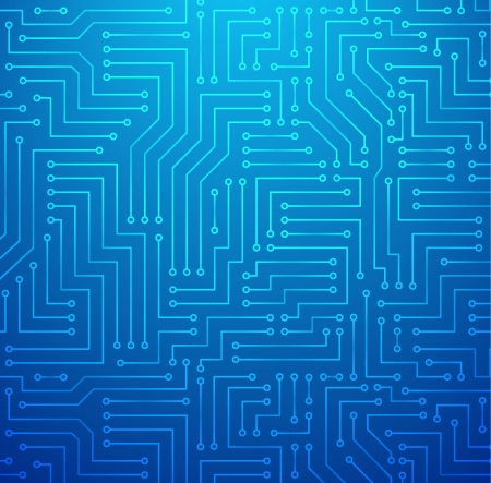 Futuristic Shining Light Blue Technology  Printed Circuit Board Seamless with Pattern in Swatches