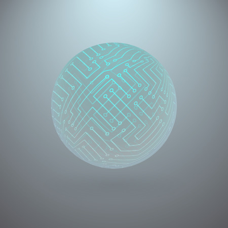 technological: Abstract Blue Green Sphere with Surface of the Electronic Circuit on Light Gray Background Illustration