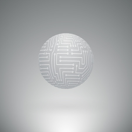 technological: Abstract Futuristic Sphere with Surface of the Electronic Circuit on Light Gray Background