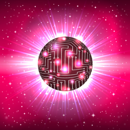 Abstract Shining Sphere with Surface of the Electronic Circuit on a Space Background Vector