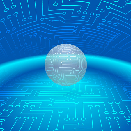 technological: Abstract Shining Sphere with Surface of the Electronic Circuit on a Cyberspace Background Illustration