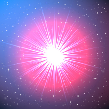 Explosion of a Star in Space - Conceptual Fantastic Illustration Vector