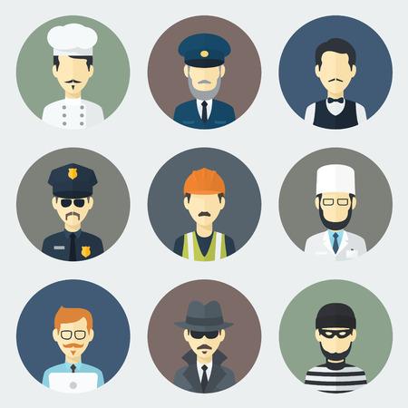 ladron: Conjunto de círculo plano Iconos con hombre de diferentes profesiones Vectores