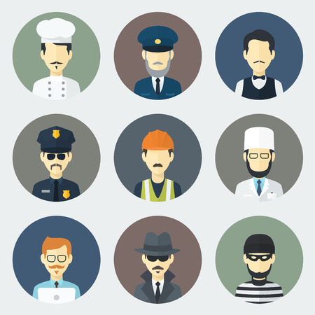Set of Circle Flat Icons with Man of Different Professions Vector
