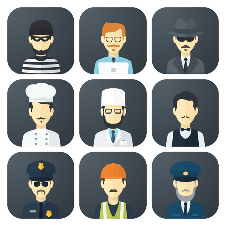 Set of App Flat Icons with Man of Different Professions Vector