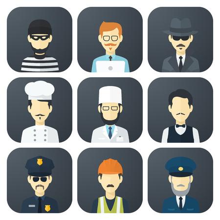 Set von Icons mit Flach App Mann von verschiedenen Berufen