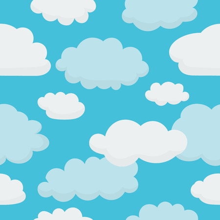 blue sky with clouds: Clouds on Light Blue Sky - Seamless Background with Pattern in Swatches
