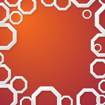 octahedron: Abstract Orange Background with White Shapes in Paper Style