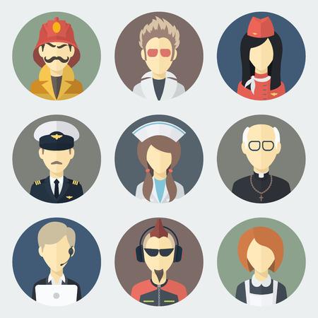 hombre: Conjunto de círculo plano Iconos con hombre de diferentes profesiones Vectores