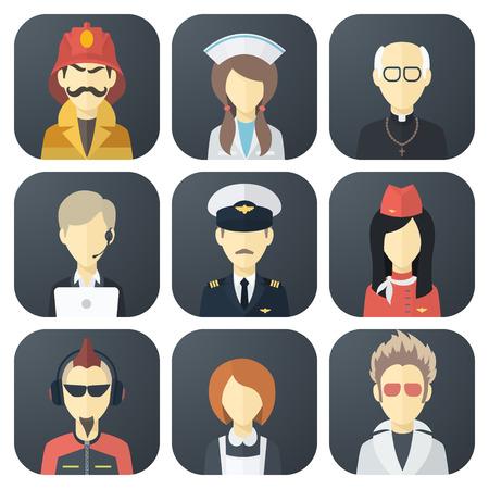 diferentes profesiones: Conjunto de iconos con la aplicaci�n Piso Hombre de diferentes profesiones Vectores