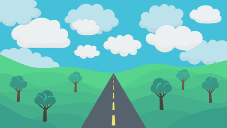 paysage: Asphalt Road on a Background Field with Trees and Cloudy Sky. Illustration