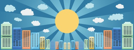 paysage: City Panorama of Tall Buildings Against the Blue Sky and Sun with Rays