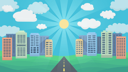 paysage: Asphalt Road on the Background Panorama of the City and Cloudy Sky. Illustration