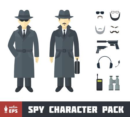 guardaespaldas: Paquete Spy Carácter con Gadgets en Flat Style Vectores