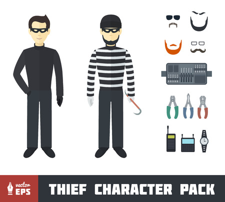Thief Character Pack with Gadgets in Flat Style Vector