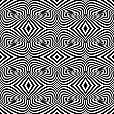 vertigo: Pattern with Optical Illusion - Black and White Opt Art Seamless
